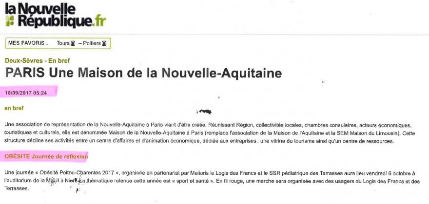Article sur la journée Obésité Poitou Charentes 06/10/2017